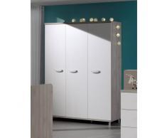 Leylina Armoire contemporaine à 3 portes ouvrantes pour chambre bébé coloris greige blanc