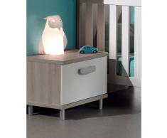 Leylina Chevet contemporain à 1 tiroir pour chambre bébé coloris greige blanc