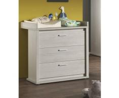 Leylina Commode à langer moderne à 3 tiroirs pour chambre bébé coloris chêne gris doux