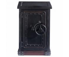 Cabinet de rangement coffre-fort en bois noir effet vieilli L 53 cm Bank