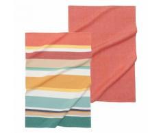 2 torchons en coton à rayures multicolores SANDIEGO