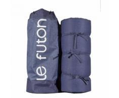 CARREFOUR Matelas Futon et sac de transport - Finition Bleu Denim