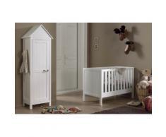 Soldes - Ensemble 2 pièces pour chambre bébé avec lit 60x120, et armoire 1 porte coloris blanc