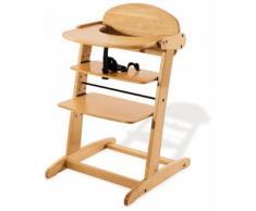 Soldes - Chaise haute évolutive en bois massif coloris naturel