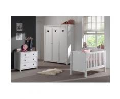 Soldes - Ensemble 3 pièces pour chambre bébé romantique avec lit à barreaux 60x120 cm commode et armoire 3p coloris blanc