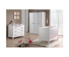Soldes - Ensemble 4 pièces pour chambre bébé avec lit à barreaux 60x120 cm commode, table à langer et armoire 3p coloris blanc