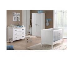 Soldes - Ensemble 4 pièces pour chambre bébé avec lit à barreaux 60x120 cm commode, table à langer et armoire 2p coloris blanc