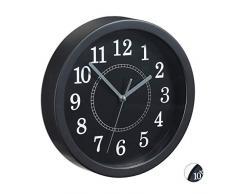 Relaxdays Horloge Murale Ronde Ø 20 cm Petite Horloge à Suspendre Design Classique à Piles avec trotteuse Noir
