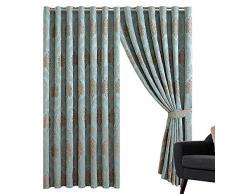 Sunrise Bedding Panneaux de Rideaux en Jacquard à œillets 220 g/m² pour Salon, décoration dintérieur (Betty Duck Egg, Largeur x 228,6 cm)