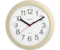 H&H Horloge Murale Ronde en Plastique Beige 23 cm