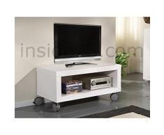 INSIDE Meuble TV Design Mobile Elegance avec rangements laqué Blanc Brillant