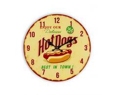 Zep GP34 Horloge Murale en Verre Luton, Beige, Rouge, Jaune, 34 x 34 x 3,5 cm