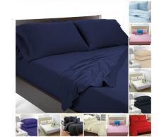 Highliving Drap Plat uni en Percale de Polycoton pour lit Simple, Double, King Size Bleu Marine