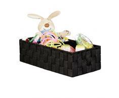 Relaxdays Panier de rangement petite corbeille déco étagère 3 compartiments salle de bain HxlxP: 10x35x17 cm, noir