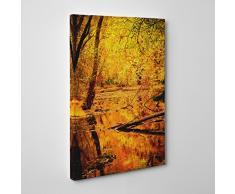 Big Box ArtForêt en Automne avec Un étang Paysage Impression sur Toile, Multicolore, 20 x 14-inch-p, Bois Dense, Multicolore, 30 x 20-inch