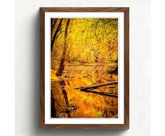 Big Box ArtForêt en Automne avec Un étang Paysage Impression avec Cadre Noir, Multicolore, Format A2, 24,5 x 45,7 cm P, Bois Dense, Noix, 24.5 x 18-inch