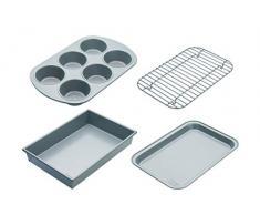 Chicago Metallic CMET8044 Professional Coffret compact avec moule antiadhésif, cupcakes, plaque de cuisson et grille à rôtir Acier carbone