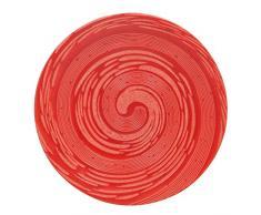 TheKitchenette 2614269 Lot de 4 Assiettes Plates en Grès, grés, Rouge, 27 x 27 x 3 (cm)