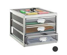 Relaxdays Corbeille à courrier Porte-Documents Organiseur Porte-revues 3 tiroirs Compartiments Format A4, Argent