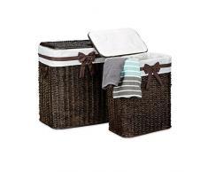 Relaxdays Panier à linge lot de 2 palmier tressé rectangle avec couvercle H x l x P: 565 x 465 x 335 cm capacité 67 L coffre à linge respirant poignées sac en tissu amovible corbeille brun choco