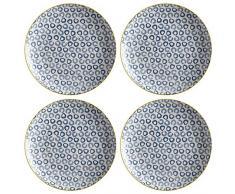Maxwell Williams 5251657 Laguna Lot de 4 assiettes tissées Bleu 20 cm, Porcelaine, Dinner Plates