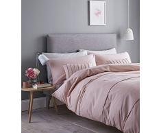 Catherine Lansfield Pom Housse de Couette Facile dentretien, Coton et Polyester, Rose poudré, Parure pour lit Simple