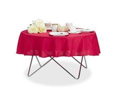 Relaxdays Nappe de Table Hydrofuge résistante Eau Linge de Table Jardin Polyester sans Plis Rond 140cm, Rouge