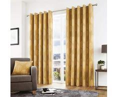Curtina Rideaux à œillets doublés, 100% Polyester, Ocre, 167,6 cm de Large x 182,9 cm de Hauteur (168 x 183 cm)