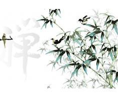 Scenolia Papier Peint Intissé Peinture Chinoise Branches et Oiseaux 4 x 2,70m - Décoration Murale Effet Trompe lOeil - Revêtement Panoramique Tapisserie XXL - Pose Facile et Qualité HD