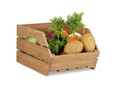 Relaxdays 10022220 Caisse en bois cagette bambou boîte de rangement empilable universelle HxlxP: 20,5 x 27 x 38 cm, nature, naturel, 48 x 27 x 20,5 cm