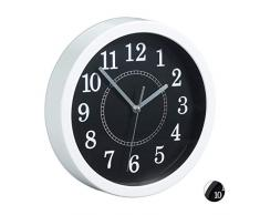 Relaxdays Horloge Murale Ronde Ø 20 cm Petite Horloge à Suspendre Design Classique à Piles Aiguilles Secondaires Blanc
