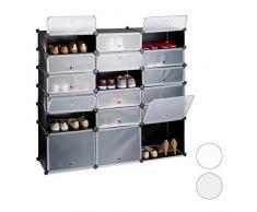 Relaxdays 10024524_46 Meuble Chaussures Plastique étagère 18 casiers système Plug-in Portes Rangement DIY HxlxP: 125x140x36 cm, Noir, 125, 5 x 140 x 36, 5 cm