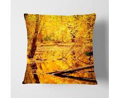 Big Box ArtForêt en Automne avec Un étang Paysage Blanc Soutenu Coussin Throw Taie doreiller, Multicolore, 17 x 43,2 cm