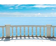 Scenolia Papier Peint Intissé Balcon Sur La Mer 3 x 2,70m - Décoration Murale Effet Trompe l'Oeil - Revêtement Panoramique Océan et Horizon - Pose Facile et Qualité HD