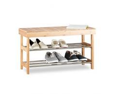 Relaxdays Étagère à chaussures Banquette, Rack chaussures Bambou 6 paires, Banc Espace Rangement, 43x74x30 cm, Nature