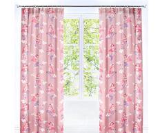 Bedlam, 52% Polyester, 48% Coton, Rose, doublé Rideaux plissés