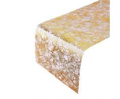 Chemins de table, motif en branches | pour mariages et dîners de haut standing | 30,5 x 274 cm | 3 pcs (Or brillant)