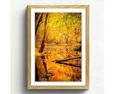 Big Box ArtForêt en Automne avec Un étang Paysage Impression avec Cadre Noir, Multicolore, Format A2, 24,5 x 45,7 cm P, Bois Dense, chêne, 24.5 x 18-inch