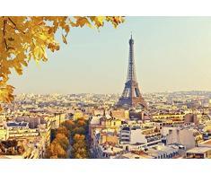 Tapisserie poster panoramique AUTOMNE À PARIS 4 x 2,70 m   Déco et photo murale XXL Qualité HD Scenolia