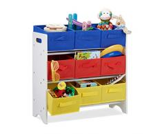 Relaxdays Étagère pour enfant avec 9 paniers pliables avec anses et tubes en métal Blanc/multicolore 62 x 63 x 28 cm