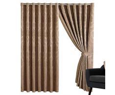 Sunrise Bedding Panneaux de Rideaux en Jacquard à œillets 220 g/m² pour Salon, décoration dintérieur (Betty Caramel, 167,6 cm de Largeur x 182,9 cm de Hauteur)