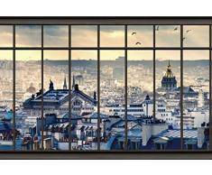 Scenolia Tapisserie Toile Textile Toits de Paris 3 x 2,70m - Décoration Murale Effet Trompe lOeil - Revêtement Panoramique Poster XXL - Pose Facile et Qualité HD