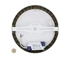 MAXILAMP Max180807 Plafonnier LED Rond Design 18W Silver Verre, Transparent