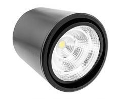 BeMatik NE033 Spot LED de surface 5 W 220 V CA 6000 K Noir 90 mm