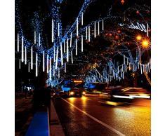 Jltech Meteor Douche, tomber la pluie Icicle Snow Guirlande lumineuse avec 30cm 8tubes 224étanche LED pour fête de mariage Vacances et décorations de Noël (Blanc)