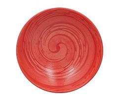 TheKitchenette 2614270 Lot de 4 Assiettes Creuses en Grès, grés, Rouge, 20 x 20 x 3 (cm)