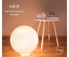 Lampadaire en coton fait à la main avec un diamètre de 35 cm - blanc, intérieur