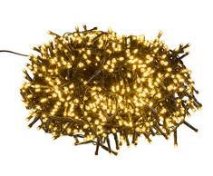 Guirlande lumineuse LED avec 1000 LED blanc chaud avec 8 heures de minuterie pour fêtes, Noël, décoration, mariage, éclairage dambiance 25 m