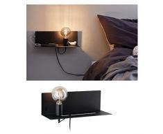 Paulmann 78920 Applique Devara avec étagère max. 40watts Lampe de lecture murale Noir Liseuse Métal, lampe murale E27