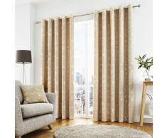 Curtina Rideaux à œillets doublés, 100% Polyester, Naturel, 116,8cm de Large x 137,2cm de Hauteur (117x 137cm)